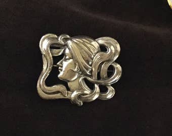Beautiful Art Nouveau Pin Woman with Flowing Hair
