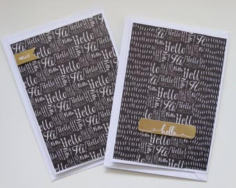 Simple Hello, Set of 2 A6 Cards
