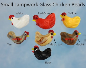 18 small chicken beads- black, white, cafe au lait (tan), yellow or reddish-orange- you choose colors - lampwork glass  roosters - crafts