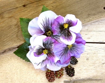 Pansy Berry Hair Clip, Fruit Fascinator, Purple Pansies Accessory, Rockabilly, Pinup, Berries Floral Headpiece