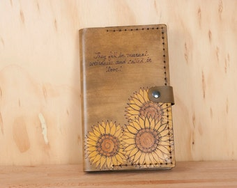 Leather Bible Cover - Custom with inscription and sunflowers in yellow and brown - Confirmation, Baptism, Third Anniversary Gift