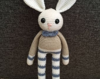 READY TO SHIP: Amigurumi Bunny Rattle/ Crochet Rabbit Toy/ Photo Prop/ Baby Bunny Doll with Rattle
