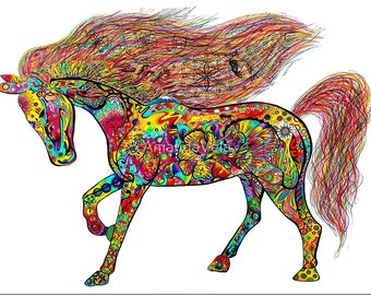Horse Art, Stallion, Southwestern Art, Zentangle, Mandala, Psychedelic Art, Reclaimed Barn Wood Frames
