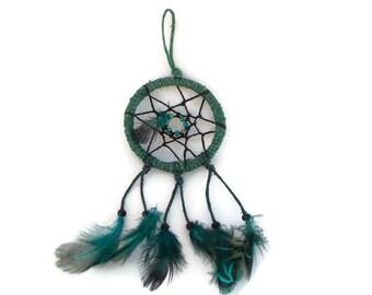 Dream catcher wall hanging, small 2 inch, dream catcher pendant, hemp dream catcher, green feather dream catcher, window charm