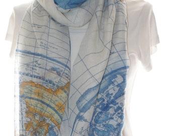 Blue world map scarf shawl, Beach Wrap, Cowl Scarf, blue world map print scarf, cotton scarf, gifts for her