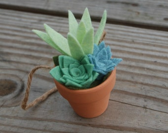 Succulent Ornament - Mini Felt Succulents in a Clay Pot - Potted Air Plant - Artificial Succulents
