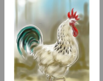 greetings card: 'Tiberius in Low Winter Sun' - art card, cockerel, rooster, Light Sussex