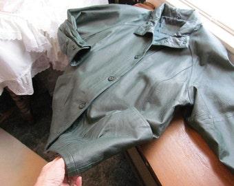 Vintage Jacqueline Ferrar Hunter Green Real Leather Jacket Heavy Premium Leather M Medium
