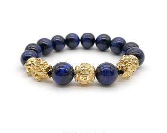 24K Gold Plated Pi Xiu Six Word Mantra Blue Tiger Bracelet 5A