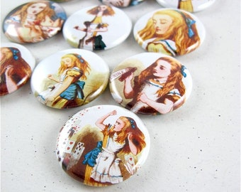 Fridge Magnets / All Things Alice in Wonderland / 13  one inch button magnets 1140