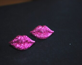 Pink Lips Earrings -- Glittery Pink Lips, Silver