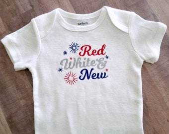 July 4th Baby Bodysuit, July Baby Shower Gift, Patriotic Infant Body Suit for Fourth of July / Independence Day Flag Red White & Blue