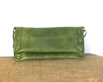 Green Leather Clutch