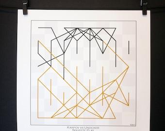 Chess Gifts * Chess Art Print Famous Game* Karpov vs Unzicker 1974