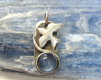 Spread your Wings bird totem,  symbolic Kyanite jewelry, gemstone pendant, sterling silver pendant, symbolic jewelry