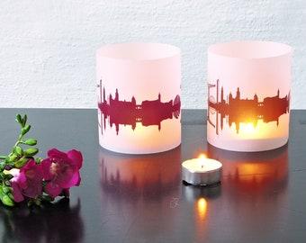 Light Covers GLASGOW Skyline City Light Luminary, 2 GLASGOW Tablelight Shade fume plum, Gift GLASGOW Lovers, Wedding Decor Candle Light