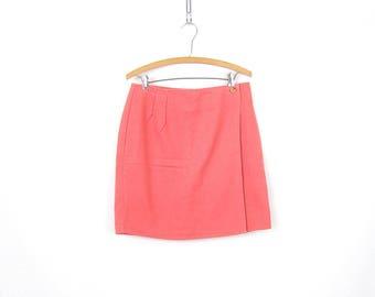 Pink Denim Jean Skirt Mini Wrap Skirt 1990s Denim Vintage Skirt Womens Size 12 Large