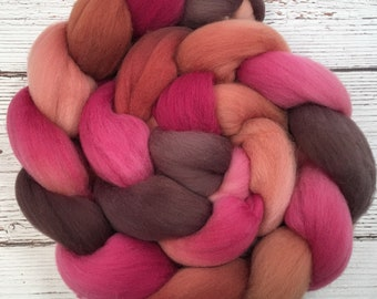 Handpainted Targhee Wool Roving - 4 oz. PERSIMMON - Spinning Fiber