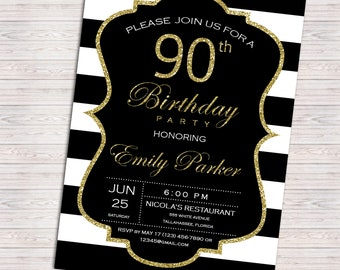 90th Birthday Invitation for women - 80th birthday party - Black and gold stripes - 30th 40th 50th 60th 70th 80th 90th - 002
