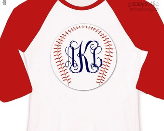 Baseball traditional monogram personalized raglan shirt - adorable custom monogrammed shirt