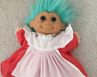 Vintage plush troll doll with dress
