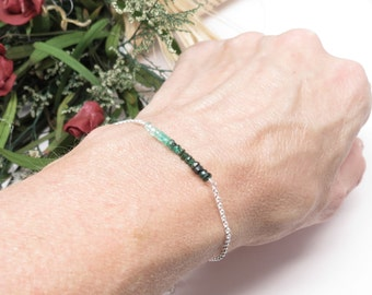 Emerald Bracelet, May Birthstone, Ombre Emerald Bracelet In Sterling Silver, 7.25-8.75 Inches Length, Ombre Emerald Jewelry, Green Gemstone