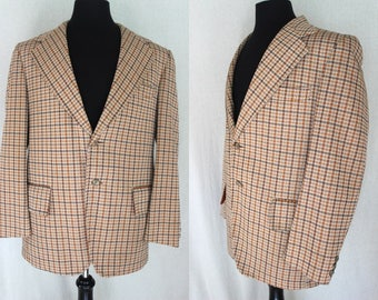 70's Plaid Jacket    70's Earth Toned Polyester Plaid 2-Button Sports Coat