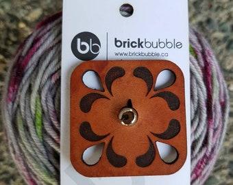 BrickBubble | Shawl Toggle | Shawl Clasp | Leather Toggle | Medium Brown Leather Square