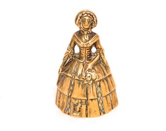 Vintage Brass Visitors Bell, Old Brass Hand Bell, Brass Lady Calling Bell, Crinoline Lady Bell, Solid Brass Desk Bell, Dinner Bell