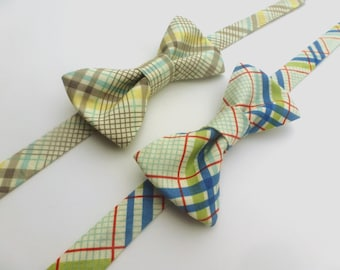 Boys Plaid Bow Tie- Taupe Plaid ***Blue and Red Plaid no longer available***  - Sizes newborn-adult