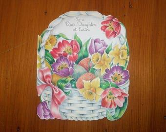 Vintage 1950's Daughter Easter Card - Vintage '50's Sparkly Floral Flower Flowers Dear Daughter Easter Card - Easter Greeting Card Ephemera