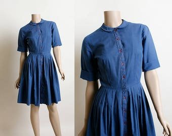 Vintage 1960s Dress - Blue Cotton Shirtwaist Dress - Red Stitching and Tiny Buttons - Pleat Skirt - Peter Pan Collar - Small