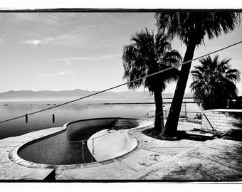"Salton Sea Pool 80s Skateboarding - J Grant Brittain Skate Art Paper Photo - 40""X60"" Skateboarding Photography Print"