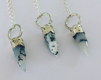 Dendrite Bullet Necklace - Silver - Crystal Healing - Semi Precious Stone - Pendant - Boho - Festival