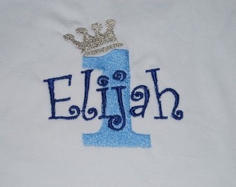 Monogrammed Embroidered Prince Princess Birthday bodysuit Tshirt
