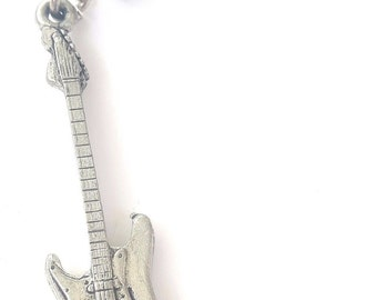 Electric Guitar Handcrafted from Solid Pewter In the UK Key Ring