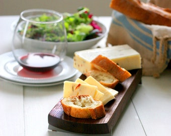 Small Walnut Cheese/Serving Board with Stainless Steel Feet, Footed Serving Board, Ready to Ship