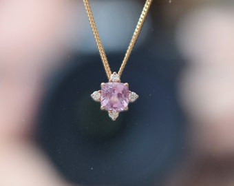 Peach sapphire pendant. Rose gold pendant. Pink sapphire and diamond pendant. Wedding gift. Anniversary gift by Eidelprecious