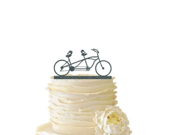 Glitter Love Birds On Tandem Bike - Acrylic Wedding/Special Event Cake Topper - 072
