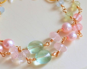 Spring Wedding Bracelet, Bridal Jewelry, Gold Filled, Double Strand, Rose Quartz, Aquamarine - Pastel Rose - Free Shipping