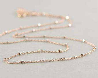 Rose Gold Silver Chain Necklace, Two Tone Necklace, Minimal