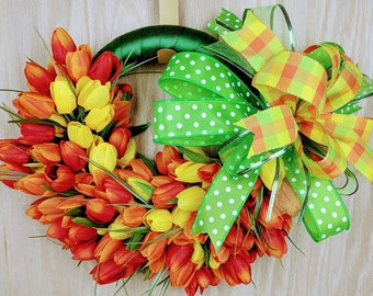 Tulip Wreath, Spring Wreath, Easter Wreath, Tulip Door Hanger, Spring Tulips, Spring door decor, Tulip door decor, ready to ship