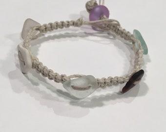 Beach Glass Hemp Bracelet