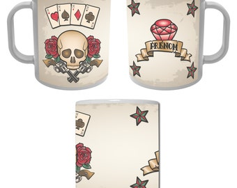 Mug Cup skull square as retro vintage with first name personalized