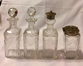 4 Piece Victorian Antique Cruet Set