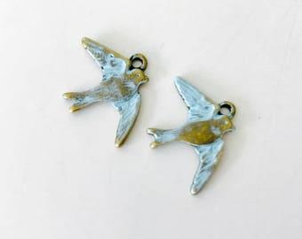 2  Bird Charms, patina bird charms, aqua patina, USA
