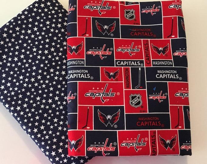 Capitals hockey fabric, reversible custom pet bandanas, sizes XS-XL, dog scarf, pet scarf, dog bandana, pet clothing, pet attire, pet wear