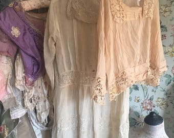 Antique Edwardian Womans Clothing Lot 2pc Top and Dress White Ivory Embroidered Lace Shabby Chic Decor S75