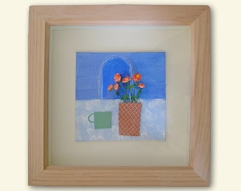 Original framed still life mini painting with miniature flowers, great gift for dolls house lovers.