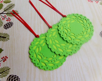 Christmas Gift Tags -Gift Tags - Holiday wreath inspired - Holidays Gift Tags - Set of 6
